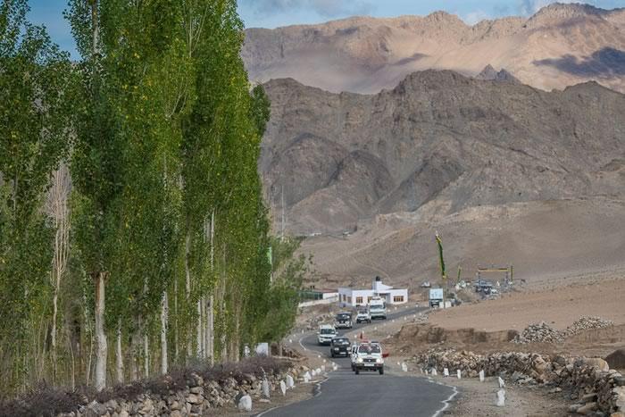 His Holiness the Dalai Lama's motorcade on the road from Leh to Stok, Ladakh, J&K, India