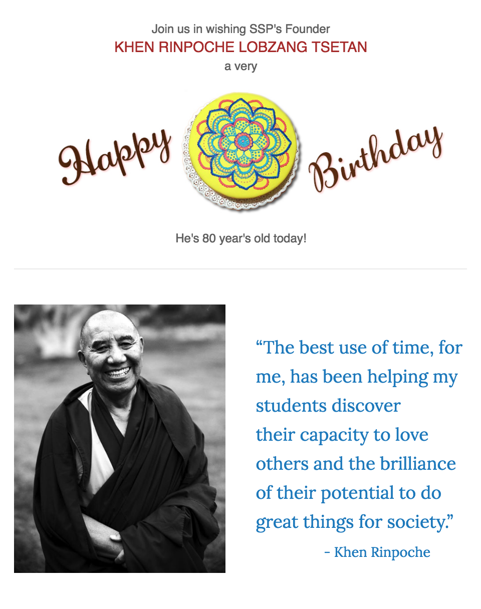 Leave A Birthday Comment Below For Rinpoches 80th Siddhartha School