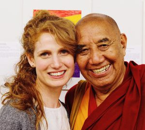 Aviva Shaw, Executive Director of Siddhartha School Project, a Himalayan charity school in Ladakh, India. Photo of Aviva Shaw and Khensur Rinpoche Lobzang Tsetan